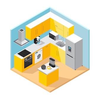 Conceito isométrico interior de cozinha moderna
