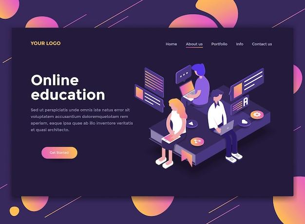 Conceito isométrico moderno de educação online