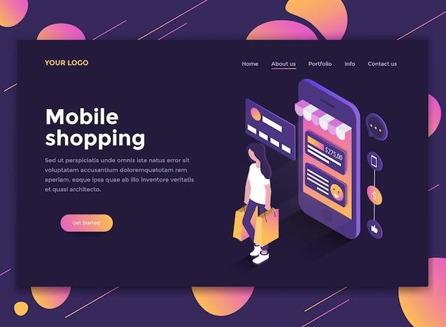 Conceito isométrico moderno de mobile shopping