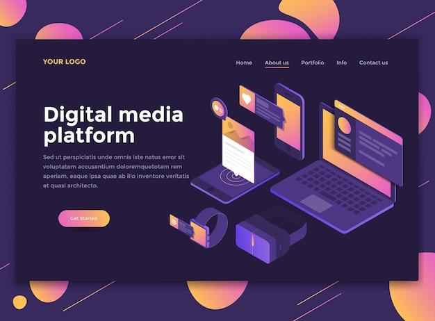 Conceito isométrico moderno de plataforma de mídia digital