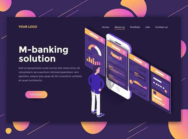 Conceito isométrico moderno de solução m-banking