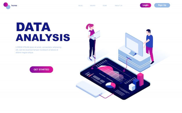 Conceito isométrico moderno design plano de análise de dados