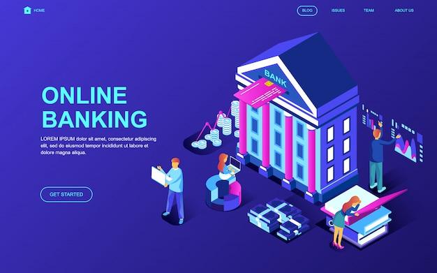 Conceito isométrico moderno design plano de banca on-line