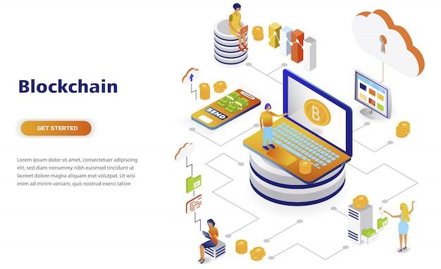 Conceito isométrico moderno design plano de blockchain