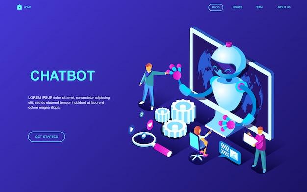 Conceito isométrico moderno design plano de chat bot