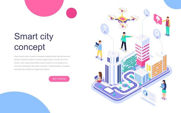 Conceito isométrico moderno design plano de cidade inteligente