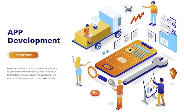 Conceito isométrico moderno design plano de desenvolvimento de aplicativo