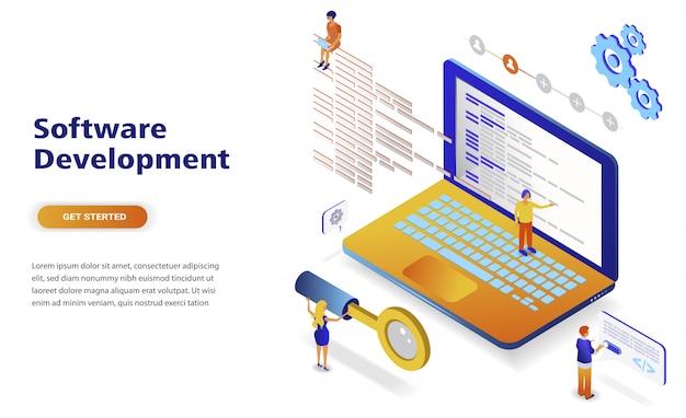 Conceito isométrico moderno design plano de desenvolvimento de software