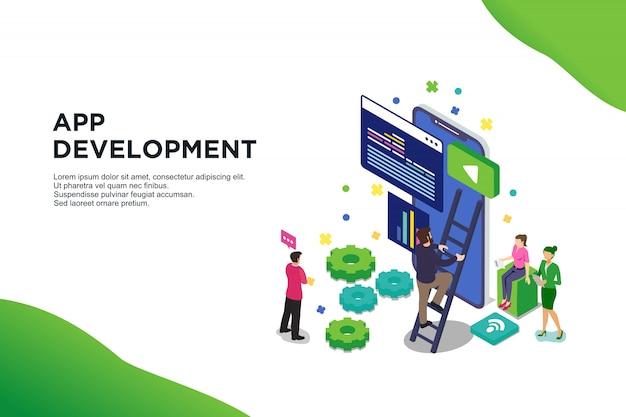 Conceito isométrico moderno design plano de desenvolvimentos de aplicativos