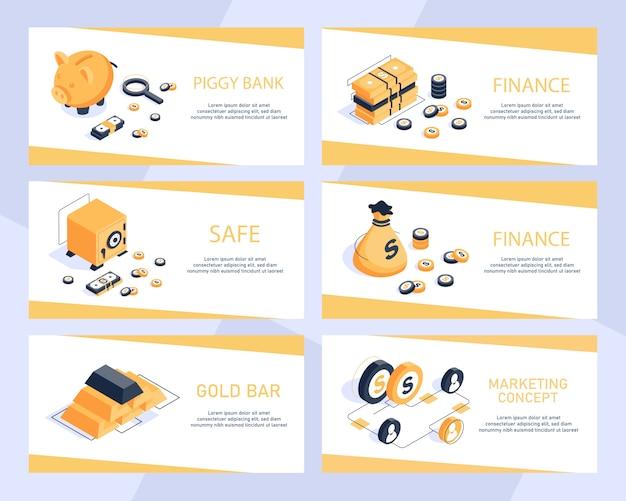 Conceito isométrico moderno design plano de finanças, demonstrativo financeiro, isométrica de contabilidade dinheiro