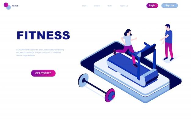 Conceito isométrico moderno design plano de fitness