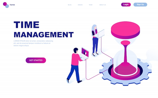Conceito isométrico moderno design plano de gerenciamento de tempo
