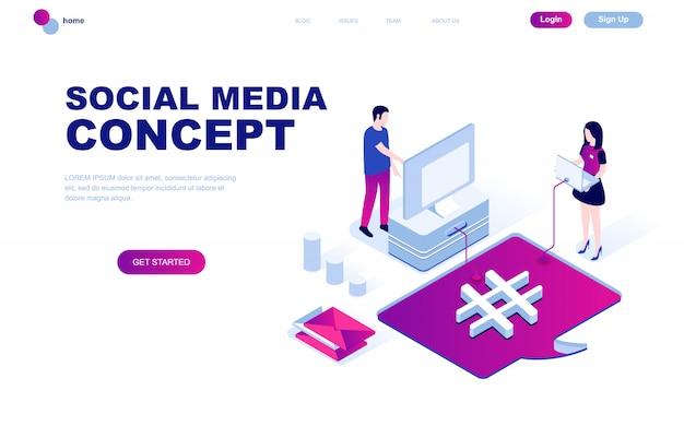 Conceito isométrico moderno design plano de mídias sociais