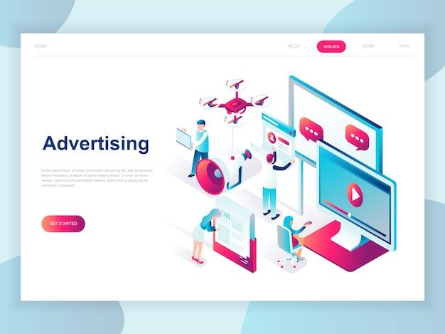 Conceito isométrico moderno design plano de publicidade