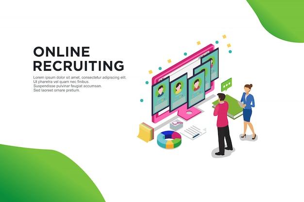 Conceito isométrico moderno design plano de recrutamento on-line