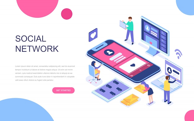 Conceito isométrico moderno design plano de rede social