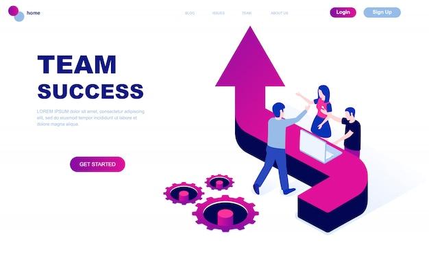 Conceito isométrico moderno design plano de sucesso de equipe