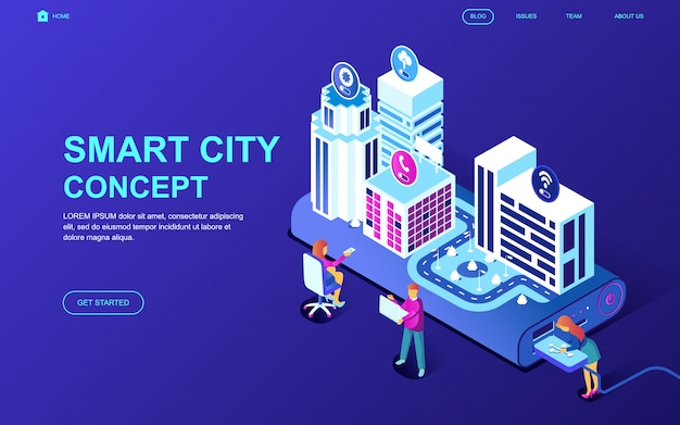 Conceito isométrico moderno design plano de tecnologia de cidade inteligente