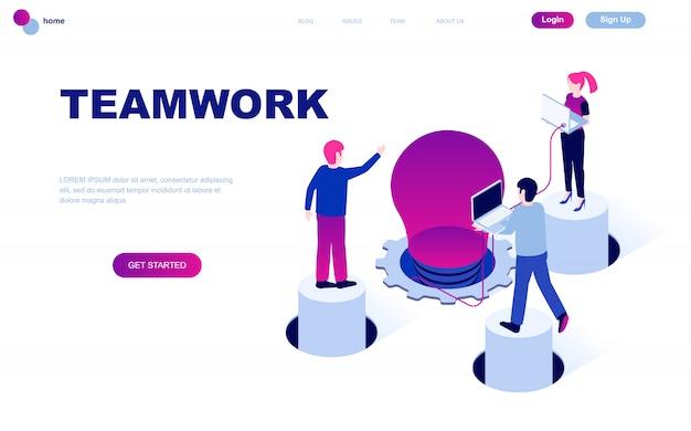 Conceito isométrico moderno design plano de trabalho em equipe