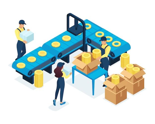 Conceito isométrico na produção, os funcionários trabalham em máquinas de produção automática. conceito para web