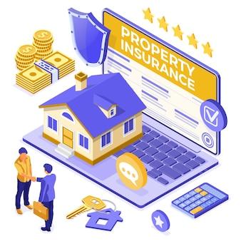 Conceito isométrico online de seguro de propery house para cartaz, site da web