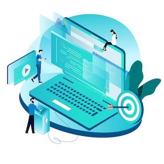 Conceito isométrico para codificação, programação, desenvolvimento de sites e aplicativos