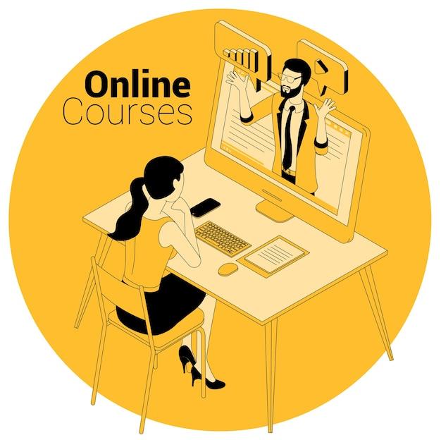 Conceito isométrico para cursos online, educação, treinamento, aprendizagem e tutoriais em vídeo.