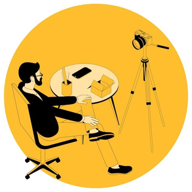 Conceito isométrico para projetos de videoblog e marketing, educação, webinar e tutorial