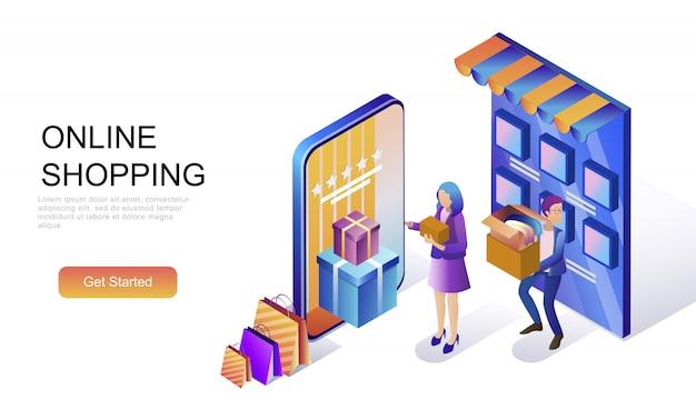 Conceito isométrico plano de compras on-line