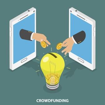 Conceito isométrico plano de crowdfunding