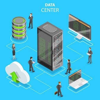 Conceito isométrico plano de data center, armazenamento em nuvem