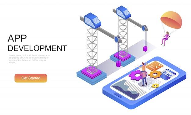 Conceito isométrico plano de desenvolvimento de aplicativos