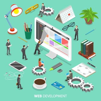 Conceito isométrico plano de desenvolvimento web