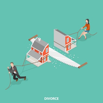 Conceito isométrico plano de divórcio.