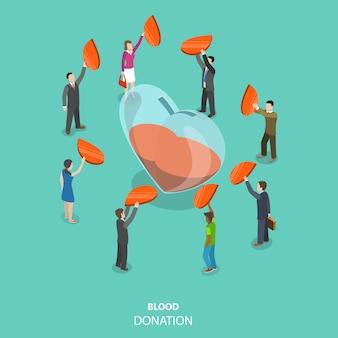 Conceito isométrico plano de doação de sangue.
