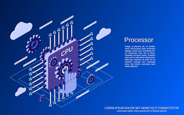 Conceito isométrico plano de processador