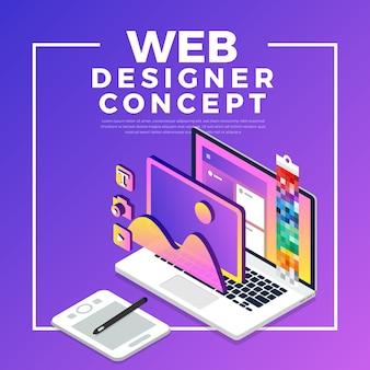 Conceito isométrico web er. ilustração. layout do site.