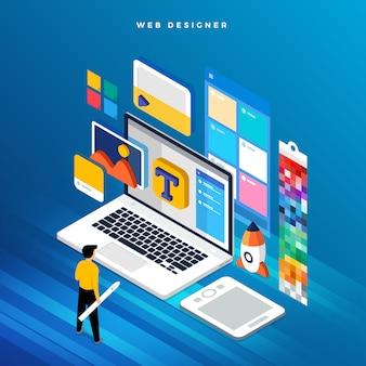 Conceito isométrico web er. ilustração. projeto de layout do site.