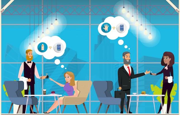 Conceito liso do vetor do uso de negócio da tecnologia de nfc