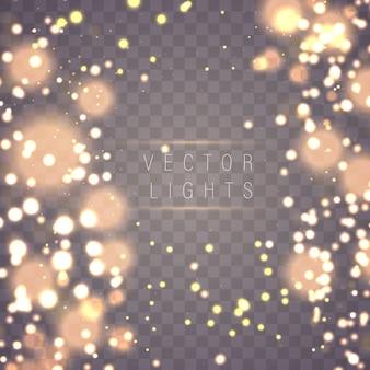 Conceito mágico. resumo desfocado luxo dourado circular ouro brilho bokeh luzes de fundo. modelo de design de recursos gráficos. ilustração.