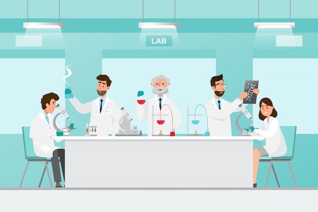 Conceito médico. cientistas homem e mulher pesquisa em laboratório de laboratório