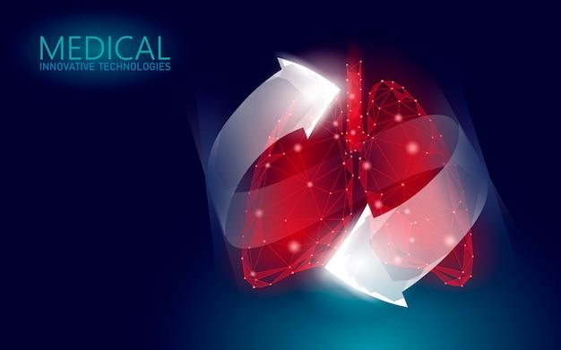 Conceito médico da recuperação humana dos cuidados médicos dos pulmões 3d.