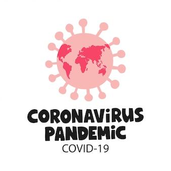Conceito médico de coronavírus pandêmico. ícone de bactérias coronavírus. símbolo covid-19. ilustração de surto de vírus.