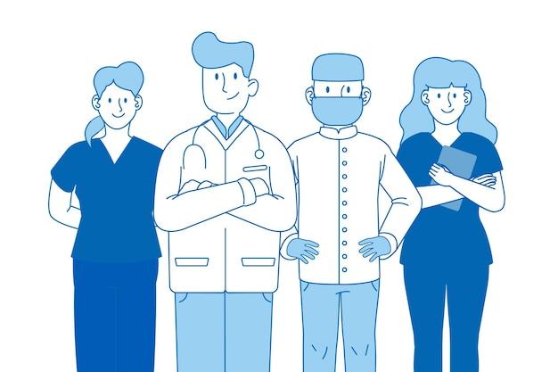 Conceito médico de equipe profissional de saúde azul