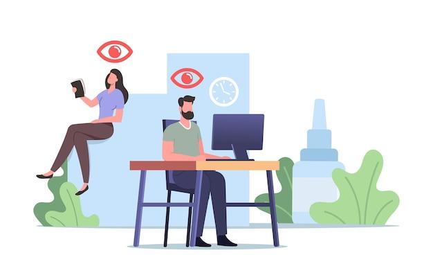 Conceito médico de problemas de visão. personagens de trabalhadores de escritório que sofrem de des, síndrome dos olhos secos e doença conjuntivite enquanto trabalham no computador ou usam smartphone. ilustração em vetor desenho animado