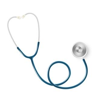 Conceito médico e dos cuidados médicos, o estetoscópio do doutor isolado no fundo branco.