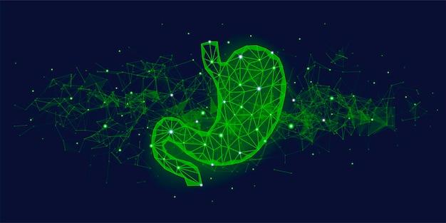 Conceito médico futurista com elementos do plexo e órgão do estômago humano verde.