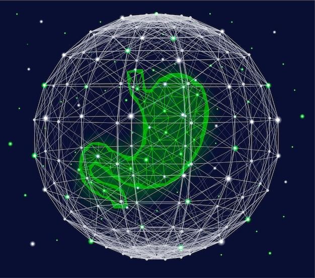Conceito médico futurista com esfera do plexo e órgão do estômago humano verde.