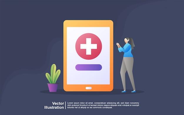 Conceito médico on-line. conceito de ilustração de medicina on-line