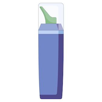 Conceito médico spray nasal para resfriados, gripe, remédio para tosse pulverizado no nariz em um estilo plano